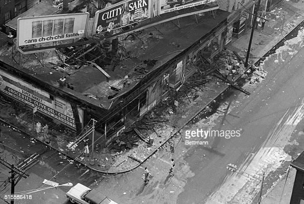Newark NJ This Aerial view shows a violently looted section of New Jersey's largest city after it witnessed a second night of racial disorder late...