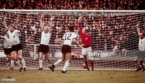 London, England-: World Cup Soccer Tournament action at Wembley Stadium shows Germany's second, and equalising goal, in the second half of the game....