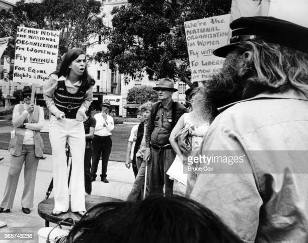 Rose Greene speaks at a gathering in Pershing Square on the 52nd anniversary of the 19th Amendment The program was presented by the Los Angeles...