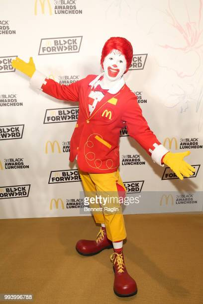 Ronald McDonald poses for a picture on the yellow carpet during the 15th Annual McDonald's 365Black Awards at Ritz Carlton Hotel on July 8 2018 in...