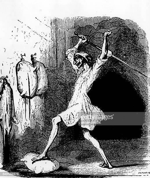 *0910154723041616Schriftsteller SpanienIllustration zu Don Quichote Holzschnitt aus der Ausgabe von 1836 von Johannot