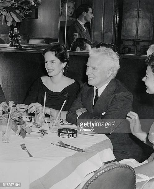 New York Stork Club Charlie Chaplin and his wife Oona Oneill