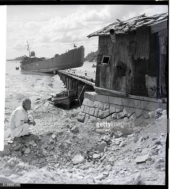 South Korea This LST waits for the tide to come in at the port of Inchon The vessel was caught when the tide receded during unloading operations on...