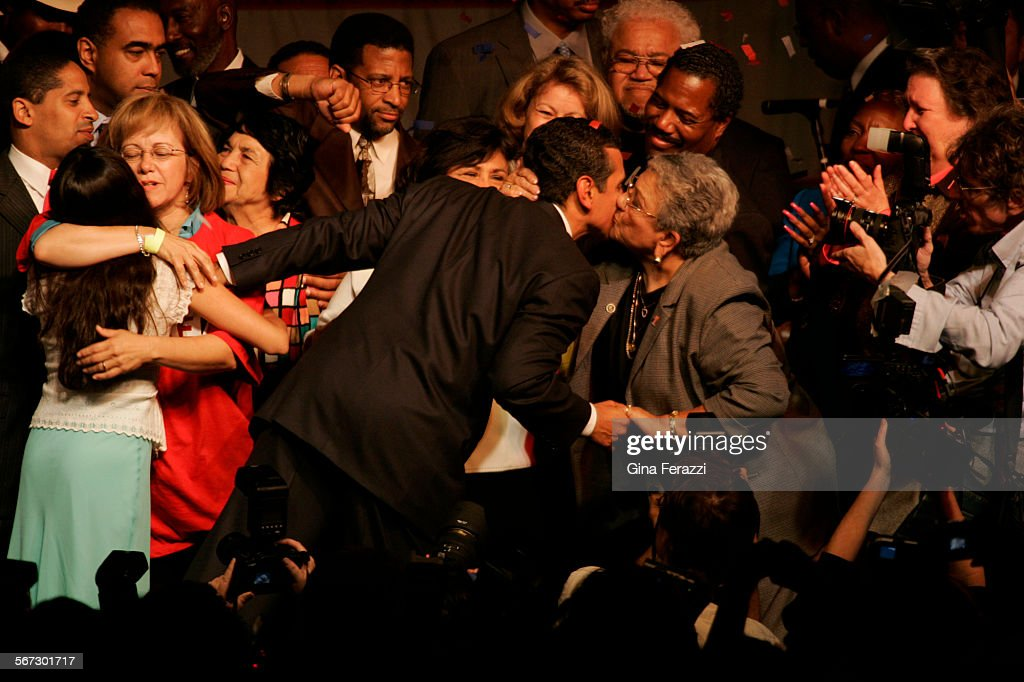 ME.0517.election.GMF–Surrounded by family and supporters, Antonio Villaraigosa celebrates his win over Jim Hahn in the mayoral election at his election night party at Los Angeles Center Studios in downtown Los Angeles Tuesday, May 7, 2005.