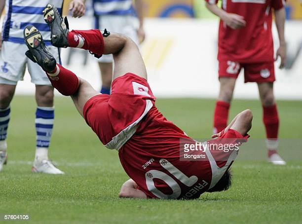 0anuel Friedrich of Mainz tumbles during the Bundesliga match between MSV Duisburg and Mainz 05 at the MSV Arena on May 13, 2006 in Duisburg, Germany.