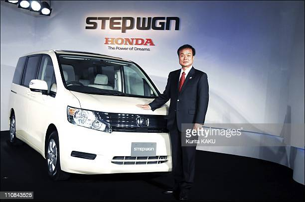 Honda Motor'S President Takanobu Ito Presents The AllNew Step Wgn In Tokyo Japan On October 09 2009 Honda Motor's President Takanobu Ito announced...