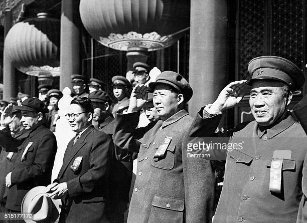 10/01/52Peking China Red China's rulers are shown reviewing the demonstration that marked celebration of the 3rd anniversary of the People's Republic...