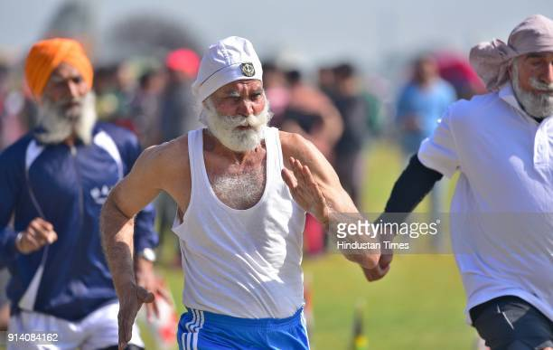 100meter race of Veteran athlete in action on the 2nd day of the 82nd Kila Raipur Rural Olympics 2018 in the village Kila Raipur on February 3 in...