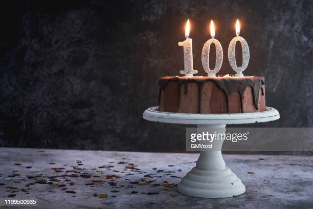 100th birthday cake - 100th anniversary stock pictures, royalty-free photos & images