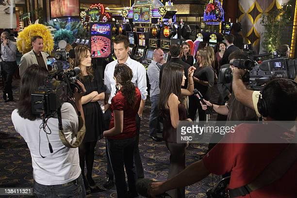 LAS VEGAS 100th Episode Behind the Scenes Pictured Molly Sims as Delinda Deline Josh Duhamel as Danny McCoy Vanessa Marcil as Samantha Sam Jane