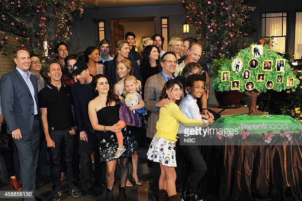 PARENTHOOD 100th Episode Cake Cutting Celebration Pictured The cast of Parenthood Peter Krause Lauren Graham Dax Shepard Monica Potter Erika...