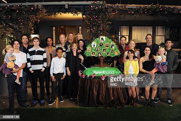 "100th Episode Cake Cutting Celebration"" -- Pictured: The cast of ""Parenthood"" Peter Krause; Lauren Graham; Dax Shepard; Monica Potter; Erika..."