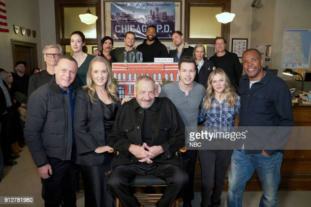 D '100th Episode Celebration' Pictured Front Row Jason Beghe Jennifer Salke President NBC Entertainment Dick Wolf Series Creator and Executive...