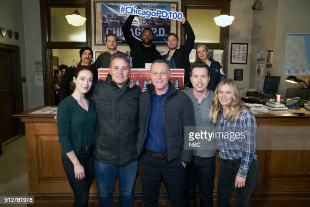 D '100th Episode Celebration' Pictured Front Row Marina Squerciati Brian Luce Technical Advisor and Associate Producer Jason Beghe Jon Seda Tracy...