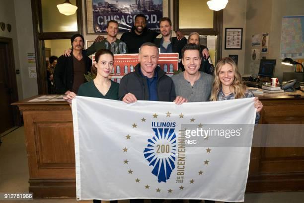 D '100th Episode Celebration' Pictured Front Row Marina Squerciati Jason Beghe Jon Seda Tracy Spiridakos Back Row Elias Koteas Jesse Lee Soffer...