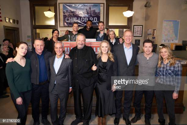 D '100th Episode Celebration' Pictured Front Row Marina Squerciati Jason Beghe Rahm Emanuel Mayor of Chicago Dick Wolf Series Creator and Executive...