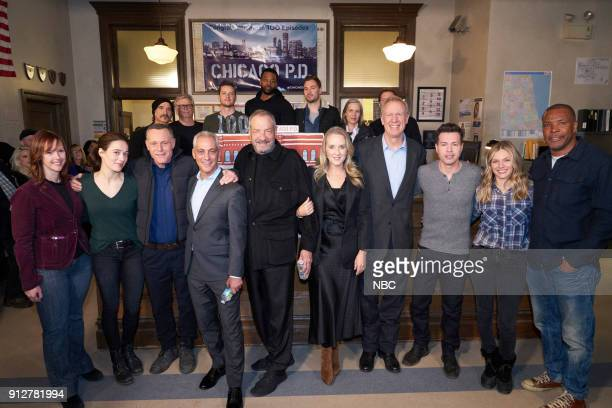 D 100th Episode Celebration Pictured Front Row Rebecca McGill Senior Vice President Current Programming NBC Marina Squerciati Jason Beghe Rahm...