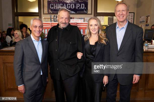 D '100th Episode Celebration' Pictured Rahm Emanuel Mayor of Chicago Dick Wolf Series Creator and Executive Producer Jennifer Salke President NBC...