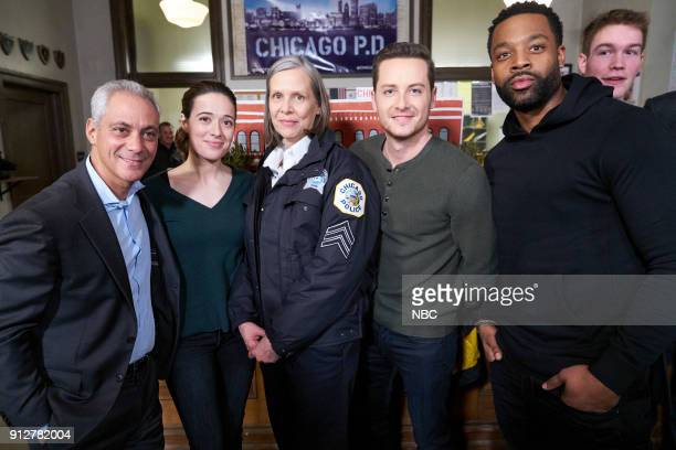 D '100th Episode Celebration' Pictured Rahm Emanuel Mayor of Chicago Marina Squerciati Amy Morton Jesse Lee Soffer LaRoyce Hawkins