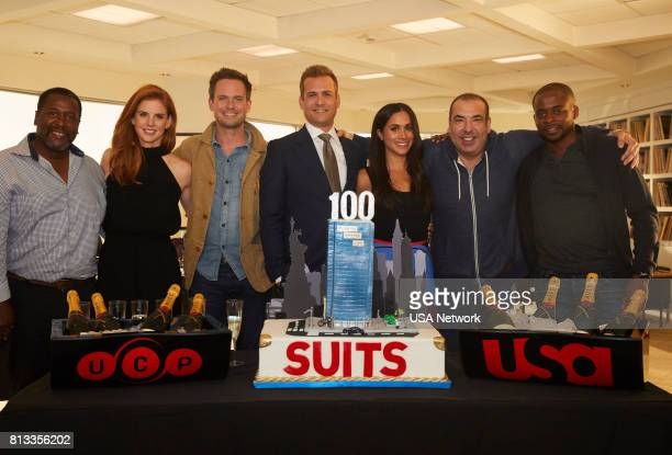 SUITS 100th Episode Celebration Pictured Wendell Pierce Sarah Rafferty Patrick J Adams Gabriel Macht Meghan Markle Rick Hoffman Dulé Hill