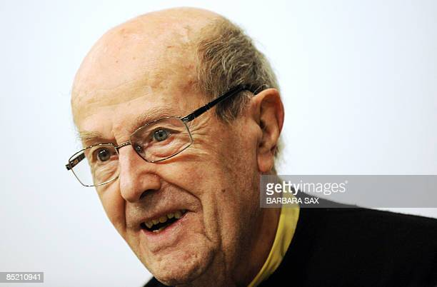 Year-old Portuguese director Manoel de Oliveira addresses a press conference on an exhibition on his work on March 3, 2009 at the Akademie der...
