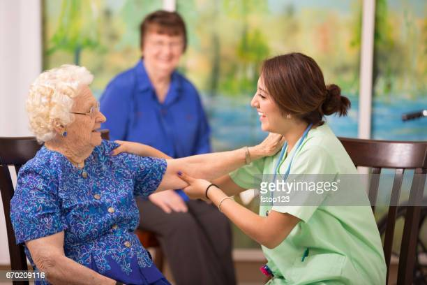 100-Year-Old woman and her home healthcare nurse.