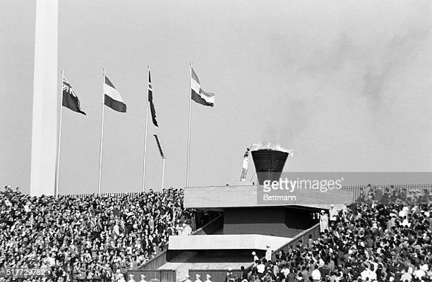 Tokyo Japan Japanese Yoshinori Sakai is shown lighting the Olympic Flame at National Stadium
