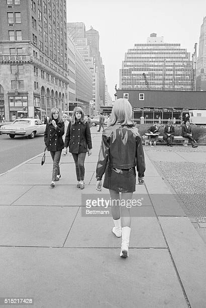 New York NY Model Lorna McDondough marches down Fifth Avenue much to the interest of a pair of youthful strollers The British model one of 4 who came...