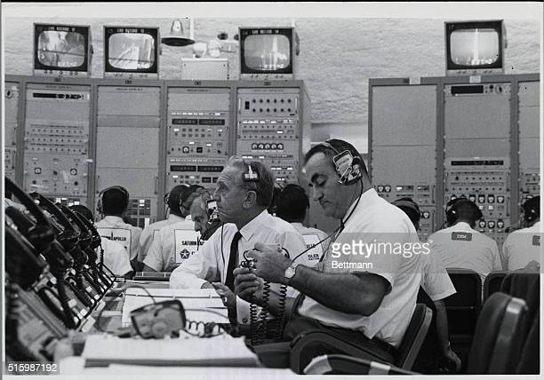 Cape Kennedy Florida In the launch control center at Complex 34 awaiting the liftoff of Apollo 7 are the director of Kennedy Space Center and the...