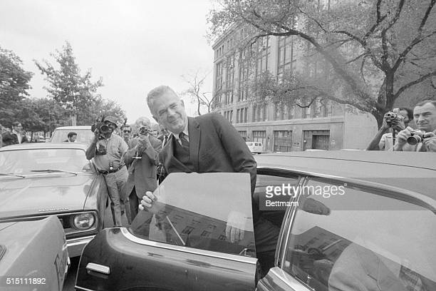 Washington DC Archibald Cox special Watergate prosecutor leaves US District Court 10/11 after the Federal Grand Jury delivered an indictment of Egil...