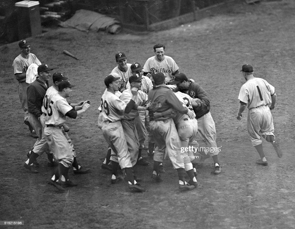 Dick Sisler Being Mobbed By Teammates : News Photo