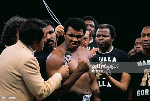 Muhammad Ali speaks of his determination to an ABC reporter at the weighin for the Ali vs Frazier fight
