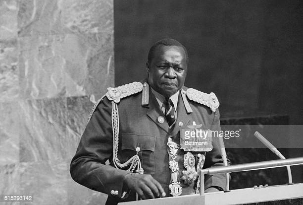 10/1/1975New York City NY Ugandan President Idi Amin resplendent in a blue red and gold field marshal's uniform addresses UN General Assembly...