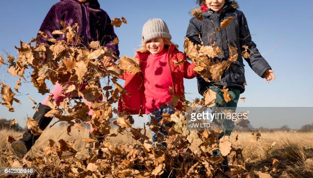 10-11years, 4-5 years playing in the park, kicking autumn leaves - 10 11 years stock pictures, royalty-free photos & images