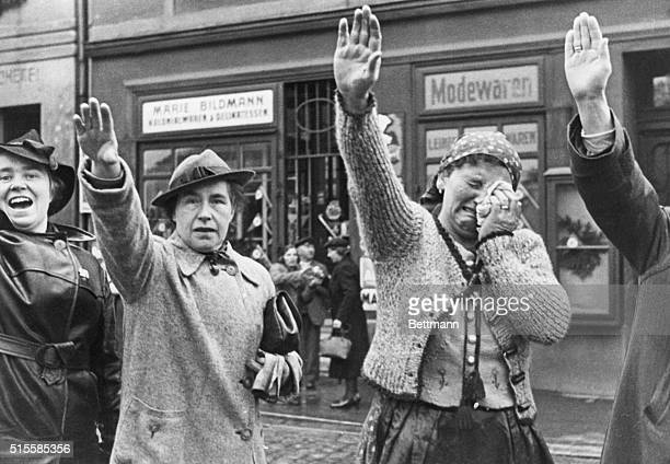 Eger Czechoslovakia Woman Weeping Tears of Joy This inhabitant of the town of Eger weeps as she raises her right hand Nazistyle to salute German...