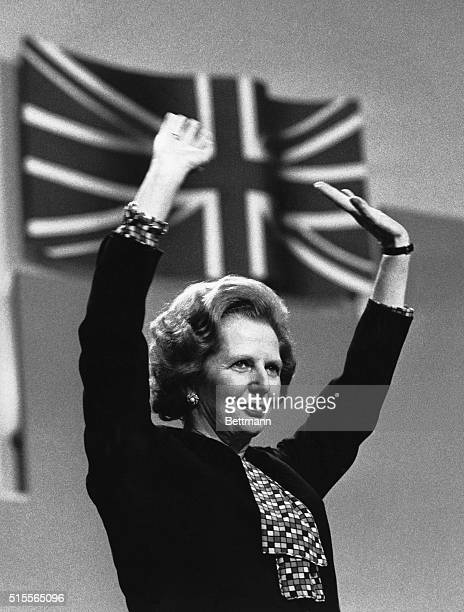 Brighton, England-Picture shows Britain's Prime Minister, Margaret Thatcher, after her closing speech at the Conservative Party Conference in...
