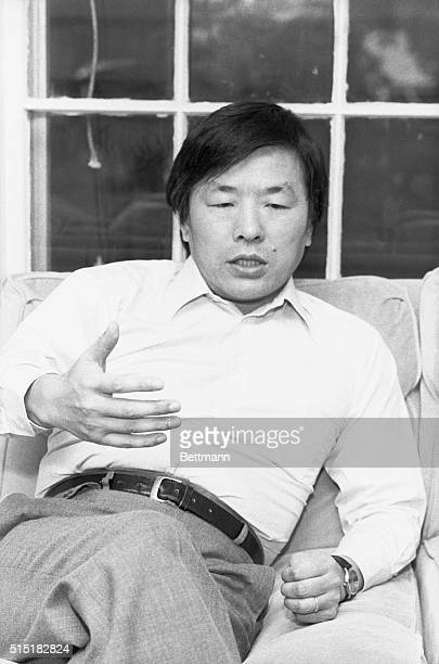 Newton, MA- Japanese geneticist Susumu Tonegawa, Professor at Massachusetts Institute of Technology, talks to reporters at his home after winning the...