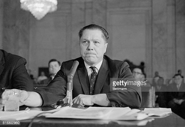 Washington, DC- Teamster President James R. Hoffa appears before the Senate Internal Security Subcommittee here today. He was subpoenaed for...