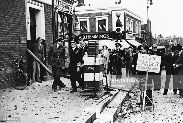 10/1/40London England The Duke of Kent youngest brother of King George VI of England with Admiral Sir Edward Evans walking past the police danger...