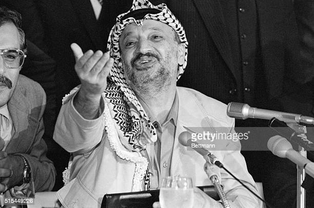 Tokyo, Japan- Yasser Arafat, leader of the Palestine Liberation Organization, holds a news conference in Tokyo. During an unofficial visit to Japan,...