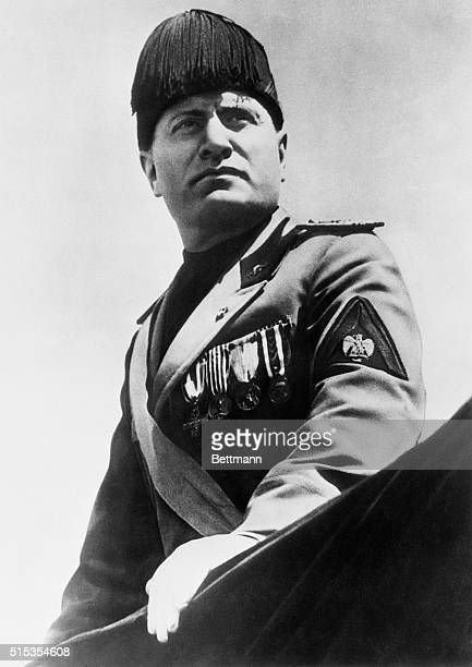 Rome Italy The leader and inspiration of the cause of Italy in Africa Il Duce Benito Mussolini is shown in this new characterportrait in full Fascist...