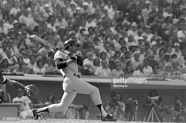 New York Yankees' Reggie Jackson hits a home run in the sixth inning of the fourth game against the Los Angeles Dodgers in the World Series