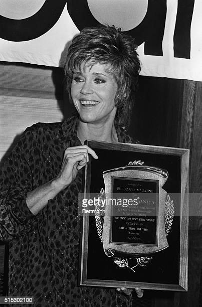 Hollywood CaliforniaJane Fonda is all smiles as she is presented with Billboard Magazine's award for Jane Fonda's Low Impact Aerobic Workout from...