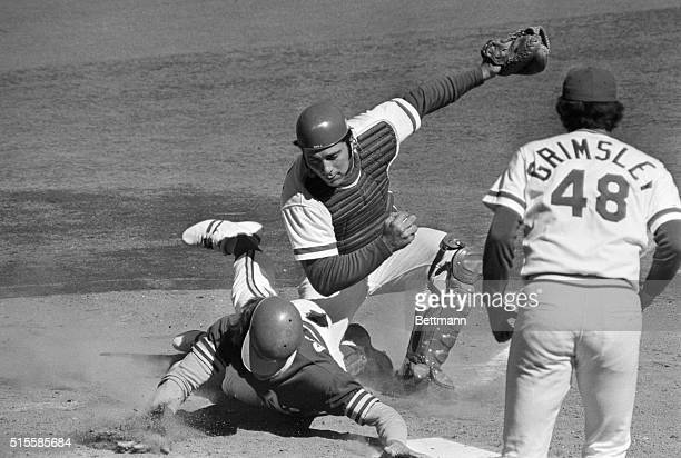 Cincinnati, Ohio: Oakland's Dick Green is nailed at the plate in 2nd inning trying to score from second base on Bert Campaneris's single to the left...