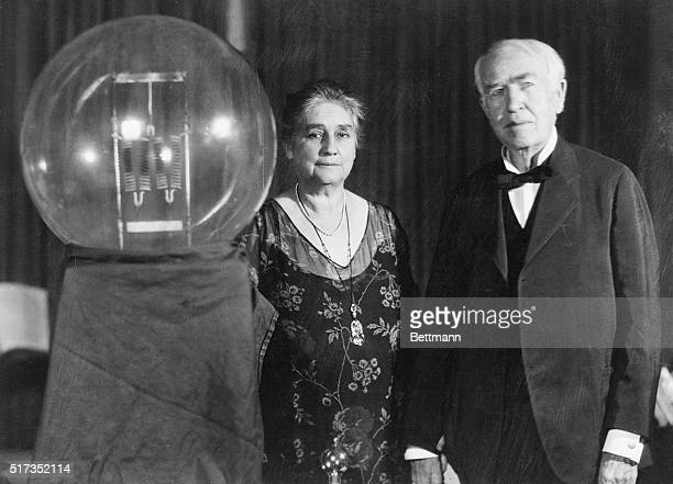 Orange New Jersey Mr and Mrs Thomas Edison at the Light's Golden Jubilee banquet given in honor of the noted inventor at the YMCA here They are...