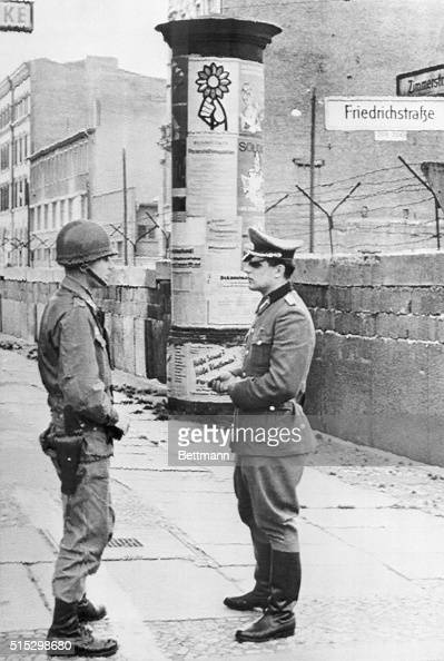 Berlin Germany U S Army Officer And An East German