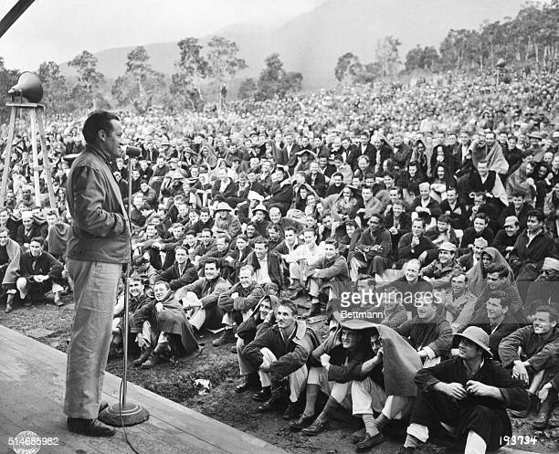10/17/44New Caledonia Wrapped in blankets a large crowd of GI's mostly patients listen to comedian Bob Hope as he entertains at a hospital in New...