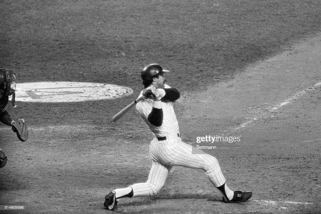 Reggie Jackson connects for his second home run in the fifth inning of game #6 of the World Series to give the Yanks a 7-3 lead over the Dodgers 10/18.