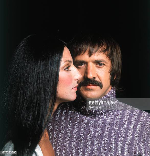 Closeup of singing duo Sonny and Cher Bono