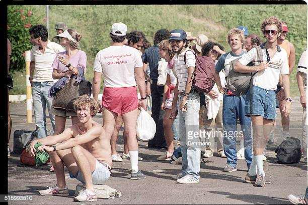 A group of American medical students relax while waiting for their evacuation during the US invasion of Grenada